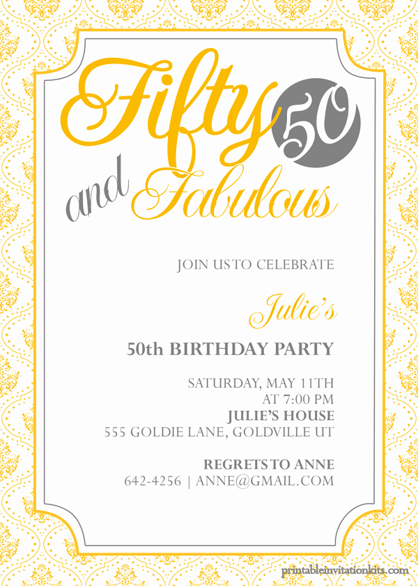 50th Anniversary Invitation Template Beautiful Fifty and Fabulous – 50th Birthday Invitation ← Wedding