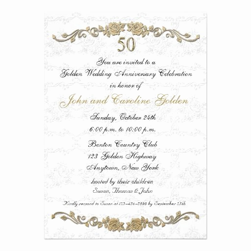 50th Anniversary Invitation Template Luxury 50th Anniversary Rose Border White Invitation