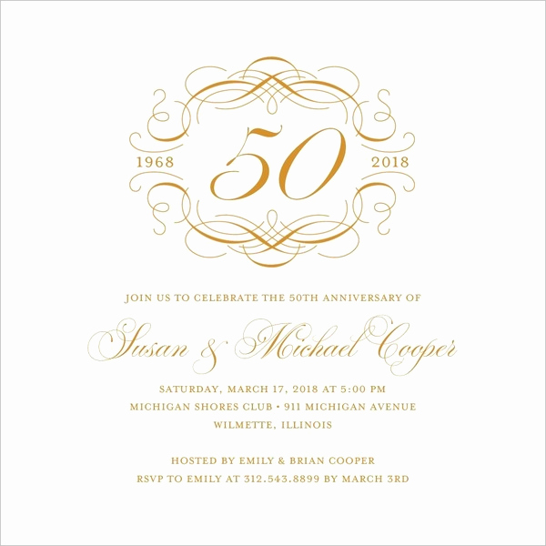 50th Anniversary Invitation Template Unique 50th Wedding Anniversary Invitations Free Template