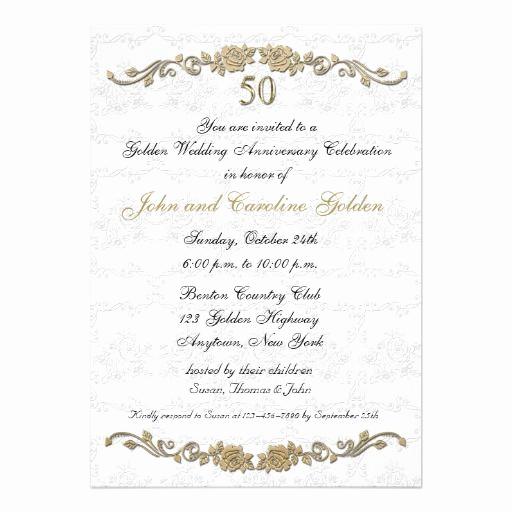 50th Anniversary Invitation Templates Beautiful 50th Anniversary Rose Border White Invitation