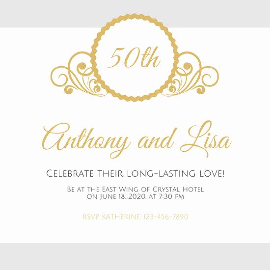 50th Anniversary Invitation Templates Beautiful Customize 449 50th Anniversary Invitation Templates