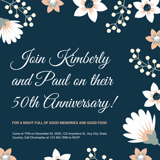 50th Anniversary Invitation Templates Best Of White and Gold Simple 50th Wedding Anniversary Invitation