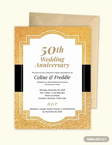 50th Anniversary Invitation Templates Luxury 19 Wedding Anniversary Cards Ai Word Psd