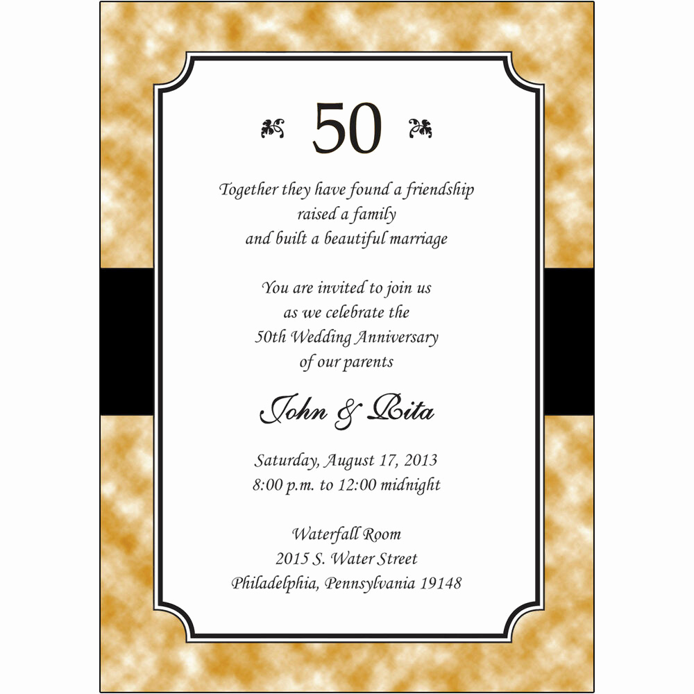 50th Anniversary Invitation Templates New 25 Personalized 50th Golden Wedding Anniversary