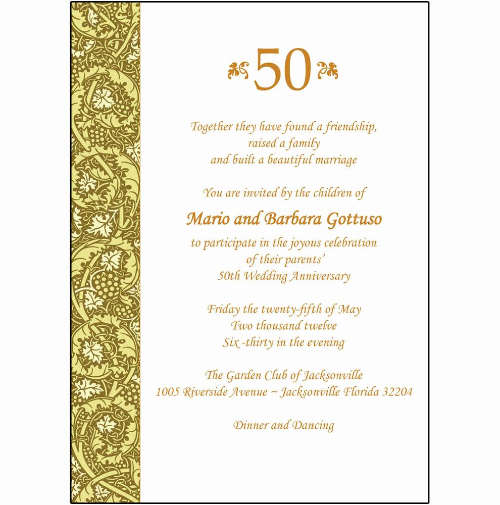 50th Anniversary Invitation Templates New 25 Personalized 50th Wedding Anniversary Party Invitations