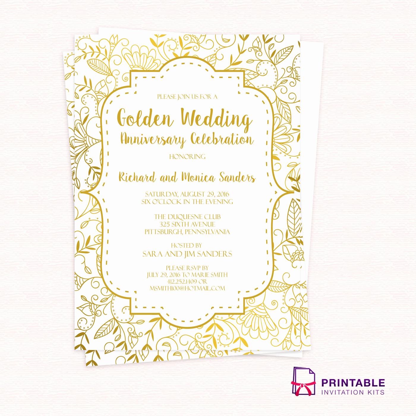 50th Anniversary Invitation Templates Unique Golden Wedding Anniversary Invitation Template