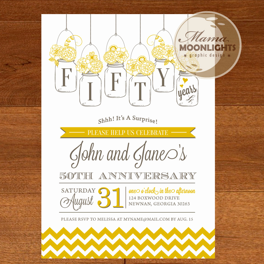 50th Anniversary Invitation Wording Beautiful Wedding Anniversary Party Printable Invitation Vintage
