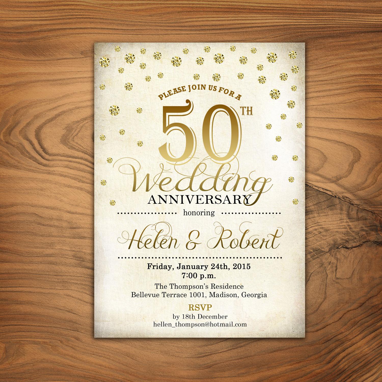 50th Anniversary Invitation Wording Best Of 50th Wedding Anniversary Invitation Gold White Retro