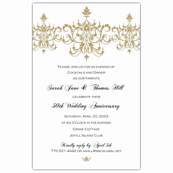 50th Anniversary Invitation Wording Best Of Victorian Scroll Flourish Gold 50th Anniversary