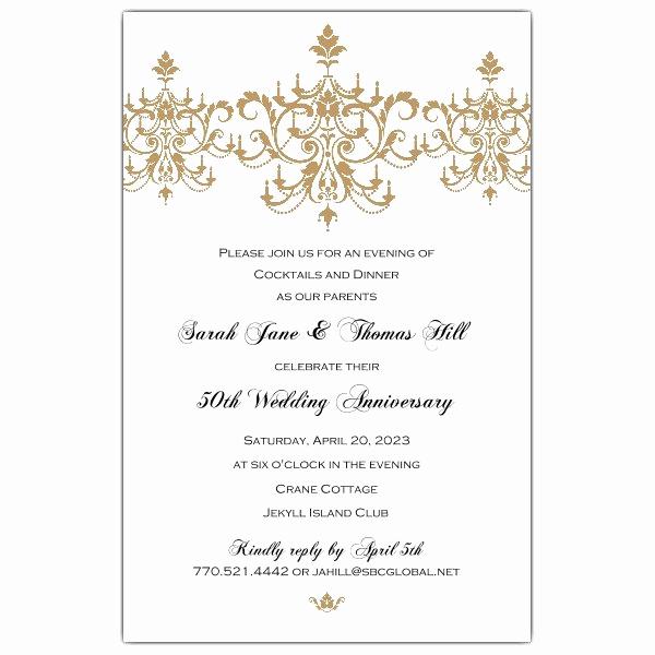 50th Anniversary Invitation Wording Best Of Victorian Scroll Flourish Gold 50th Anniversary