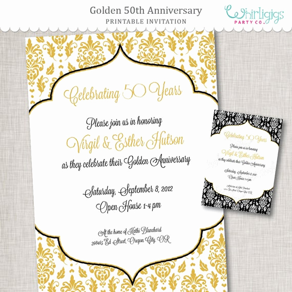 50th Anniversary Invitation Wording Elegant Items Similar to 50th Anniversary Invitation Golden