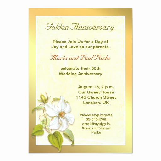 "50th Anniversary Invitation Wording Fresh Golden 50th Wedding Anniversary Invitation 5"" X 7"
