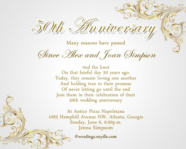 50th Anniversary Invitation Wording Inspirational 50th Wedding Anniversary Invitation Wording Ideas