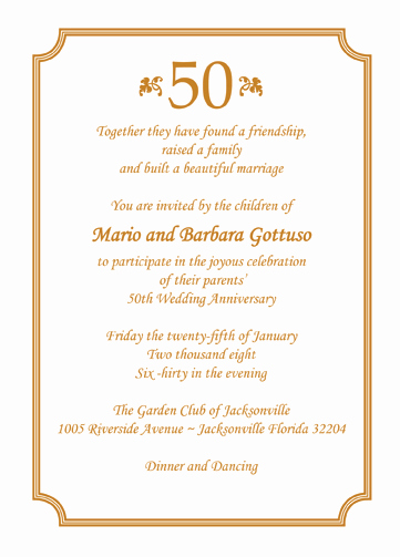 50th Anniversary Invitation Wording Luxury 25 Personalized 50th Wedding Anniversary Party Invitations