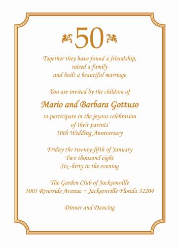 50th Anniversary Invitation Wording Luxury 25 Personalized 50th Wedding Anniversary Party Invitations