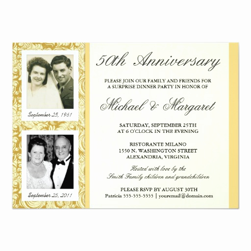 50th Anniversary Invitation Wording Luxury 50th Anniversary Invitations then & now S