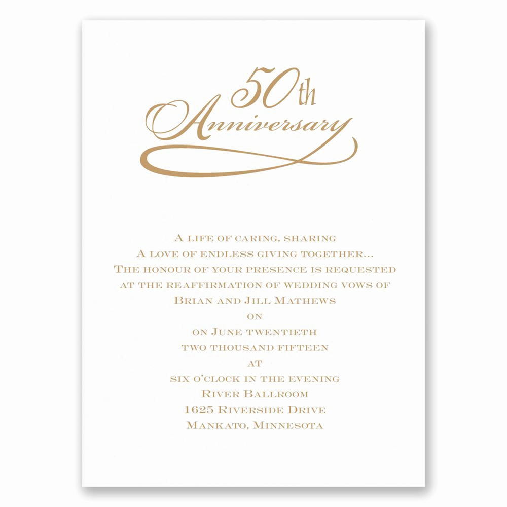 50th Anniversary Invitation Wording Luxury Classic 50th Anniversary Invitation