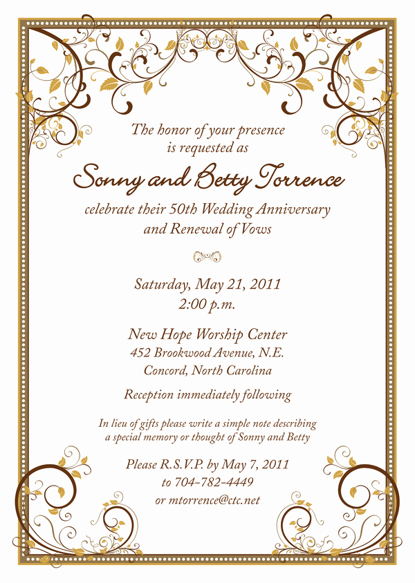 50th Anniversary Invitation Wording New 50th Wedding Anniversary Invitation