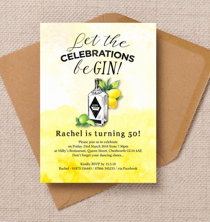 50th Birthday Invitation Card Awesome Gin & tonic themed 50th Birthday Party Invitation From £0