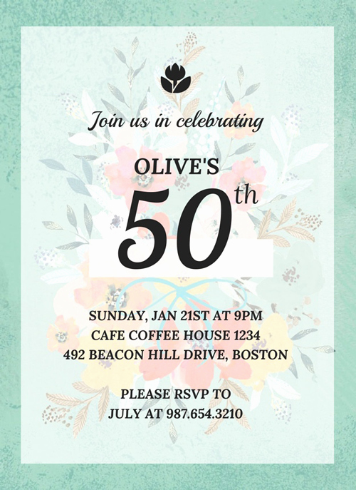 50th Birthday Invitation Card Elegant Vintage 50th Birthday Invitation Template Venngage