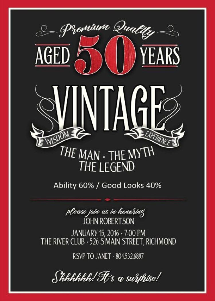50th Birthday Invitation Card Elegant Vintage Birthday Invitation Wording