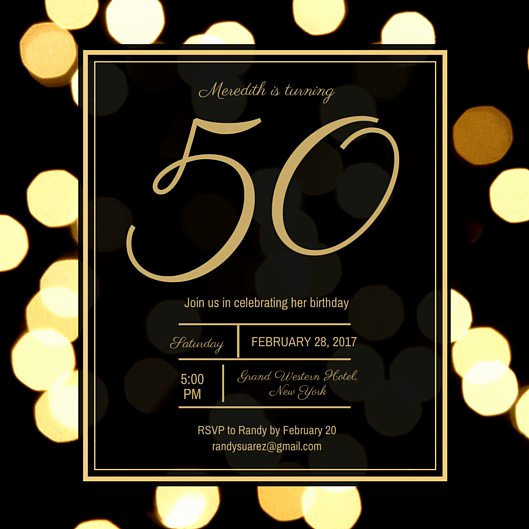 50th Birthday Invitation Card Lovely Golden 50th Birthday Invitation Templates by Canva