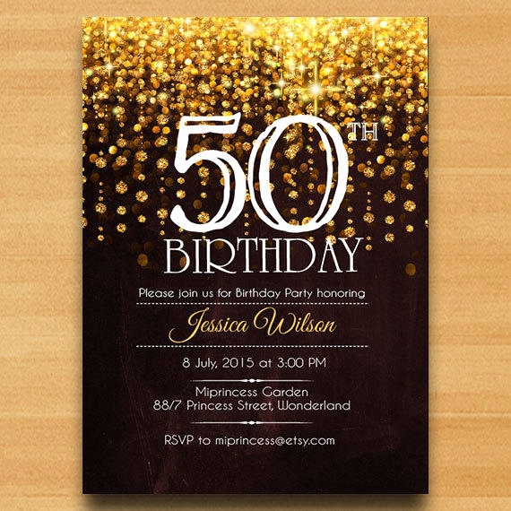 50th Birthday Invitation Card Luxury Elegant Birthday Invitation Birthday From Miprincess On Etsy