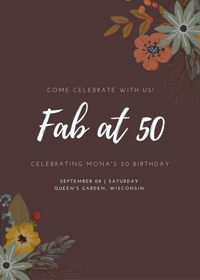 50th Birthday Invitation Card New 50th Birthday Invitation Templates Canva