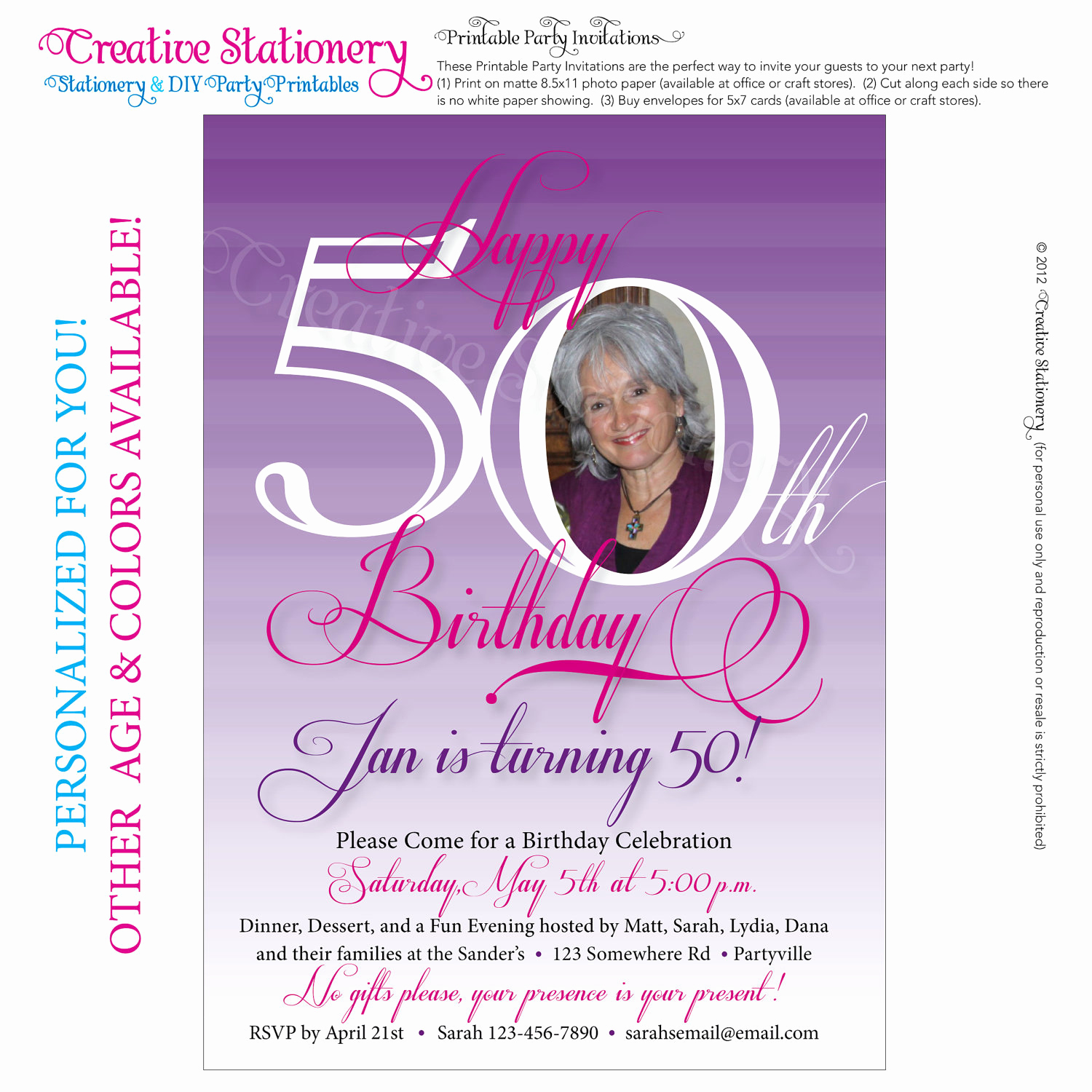 50th Birthday Invitation Card New Womens 50th Birthday Printable Milestone by