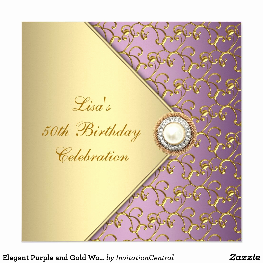 50th Birthday Invitation Card Unique Elegant Purple and Gold Womans 50th Birthday Party
