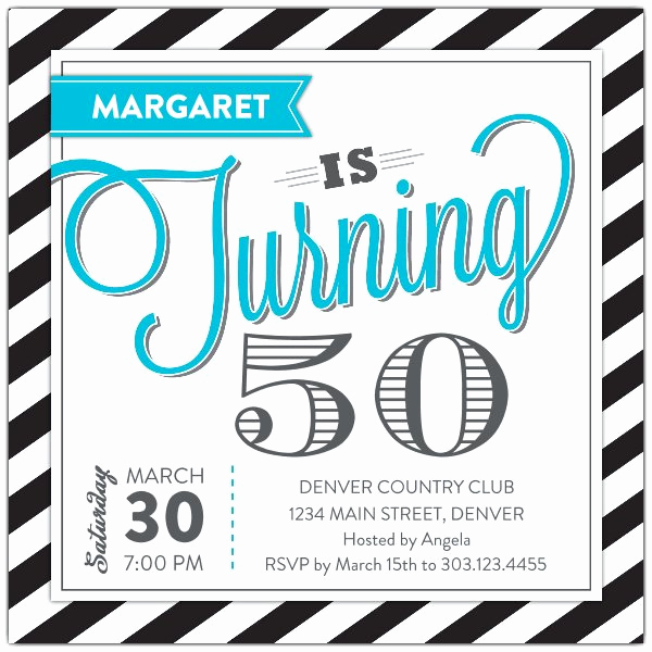 50th Birthday Invitation Ideas New Stripey Fun Turquoise 50th Birthday Invitations