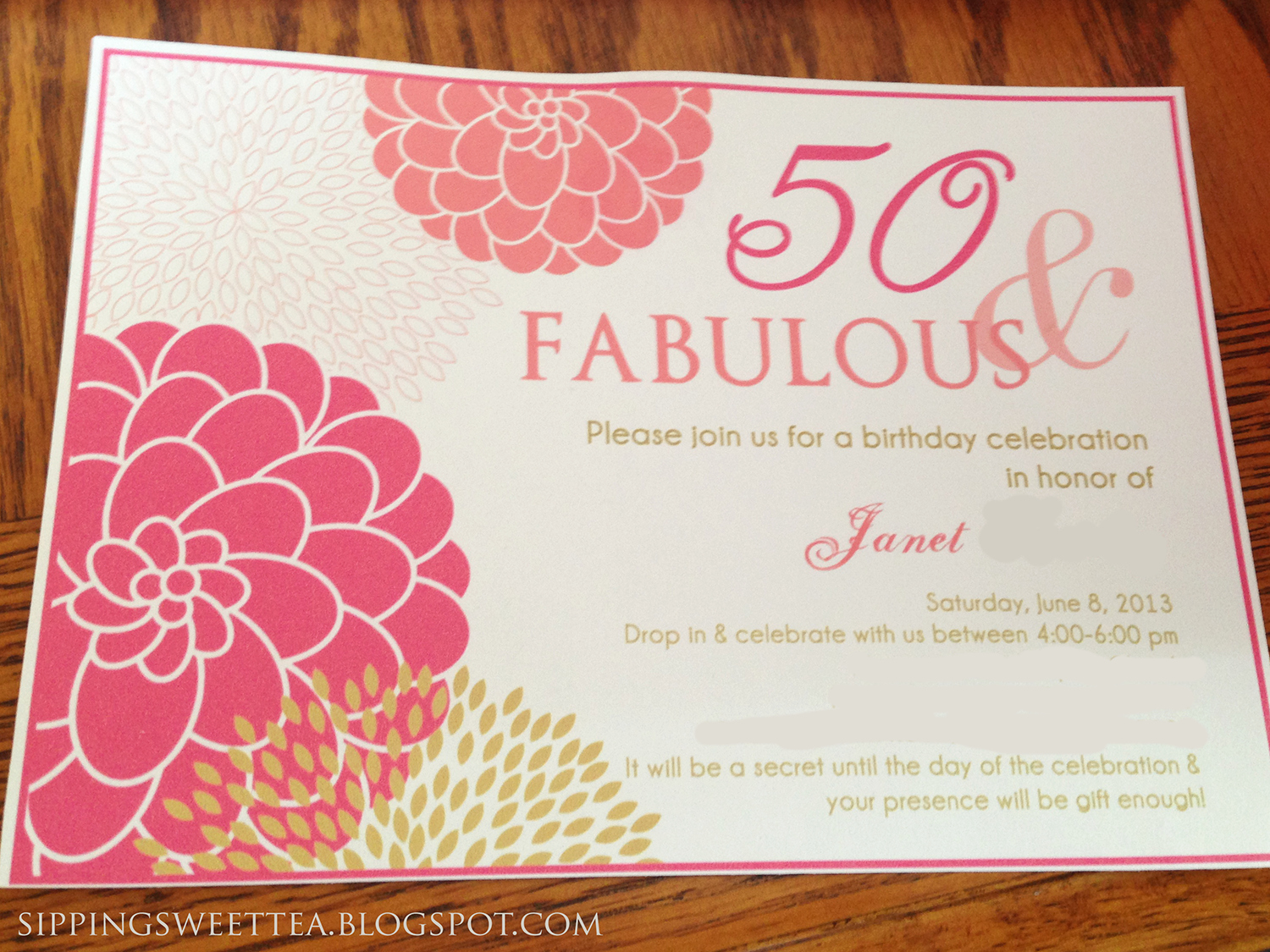 50th Birthday Invitation Ideas New Two Thirds Scarlett A Pink and Gold Affair Mom S