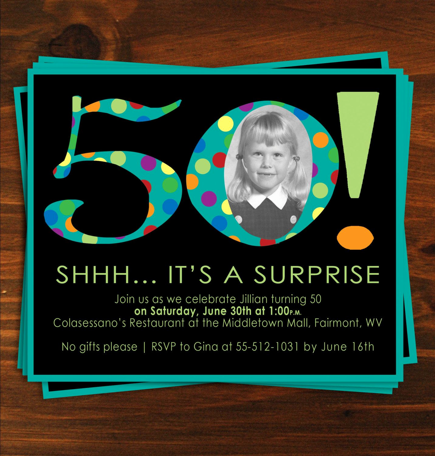 50th Birthday Invitation Ideas Unique Black and Blue Poka Dot Surprise 50th Birthday Party