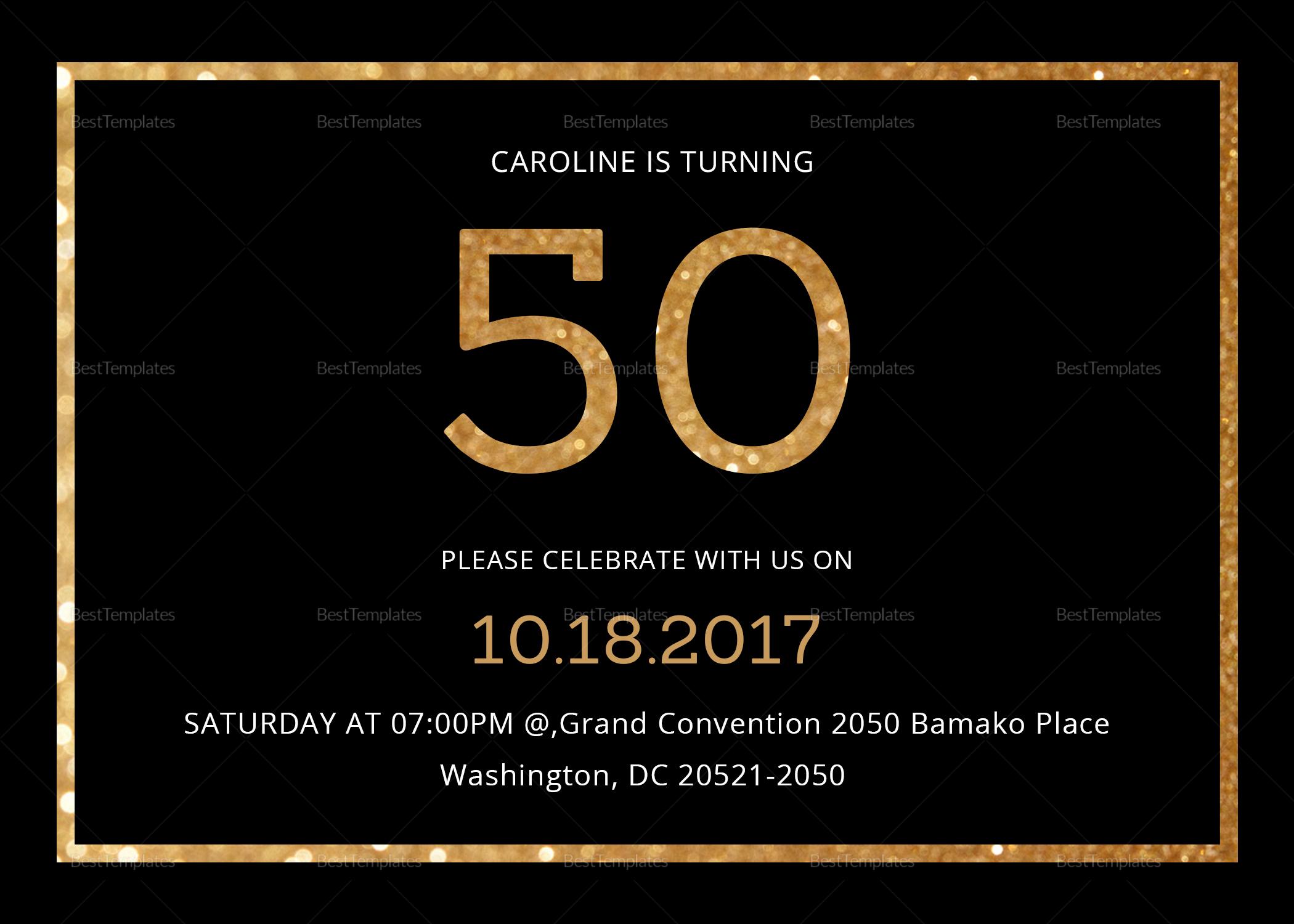 50th Birthday Invitation Template Elegant Elegant Black and Gold 50th Birthday Invitation Design