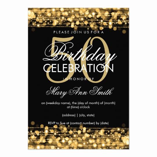 50th Birthday Invitation Template Lovely Elegant 50th Birthday Party Sparkles Gold Invitation
