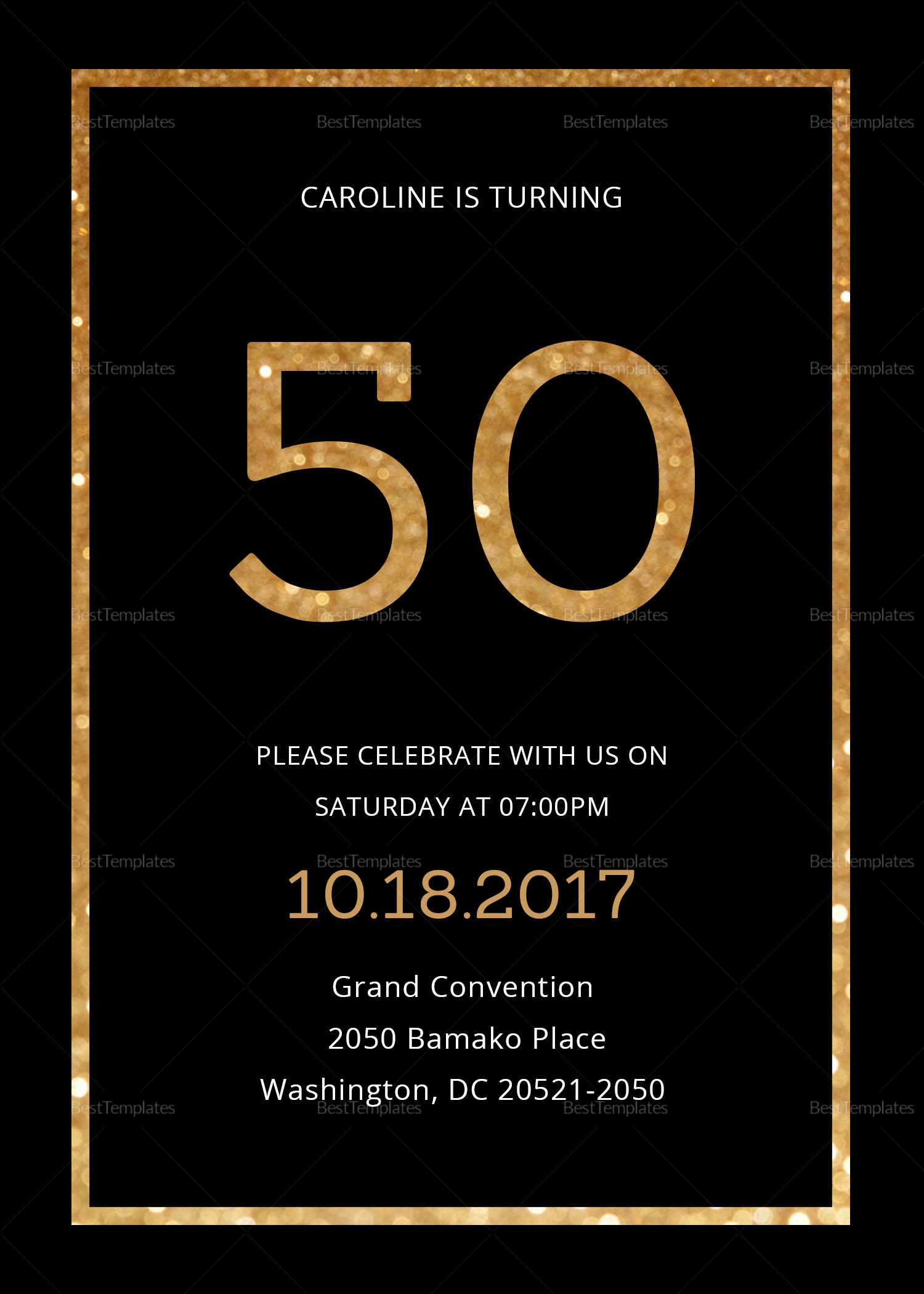 50th Birthday Invitation Template Lovely Elegant Black and Gold 50th Birthday Invitation Design