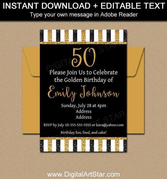 50th Birthday Invitation Template Unique Printable 50th Birthday Invitation Template Glitter
