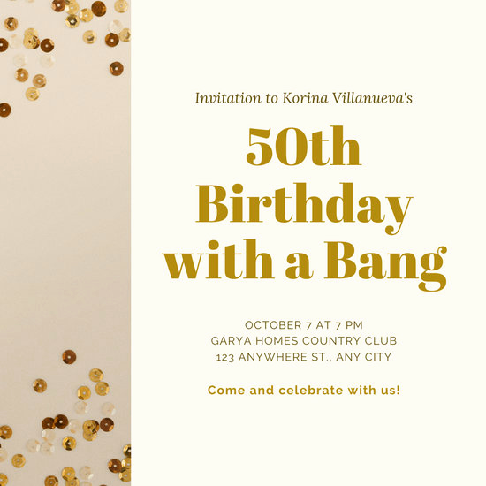 50th Birthday Invitation Templates Awesome Customize 389 50th Anniversary Invitation Templates