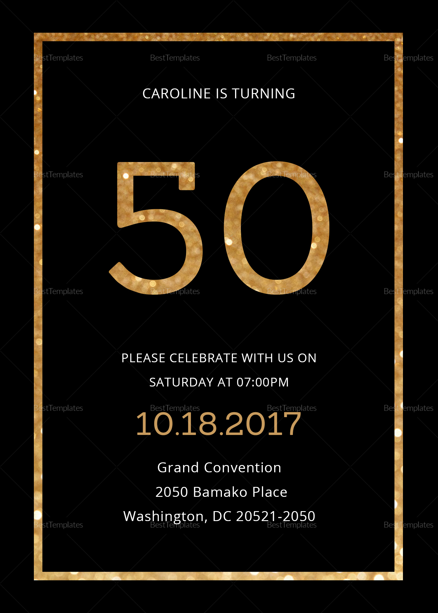 50th Birthday Invitation Templates Awesome Elegant Black and Gold 50th Birthday Invitation Design