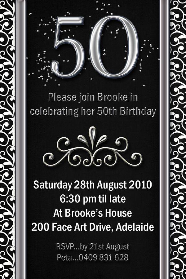 50th Birthday Invitation Templates Best Of Example 50th Birthday Invitations Flower Patern Silver