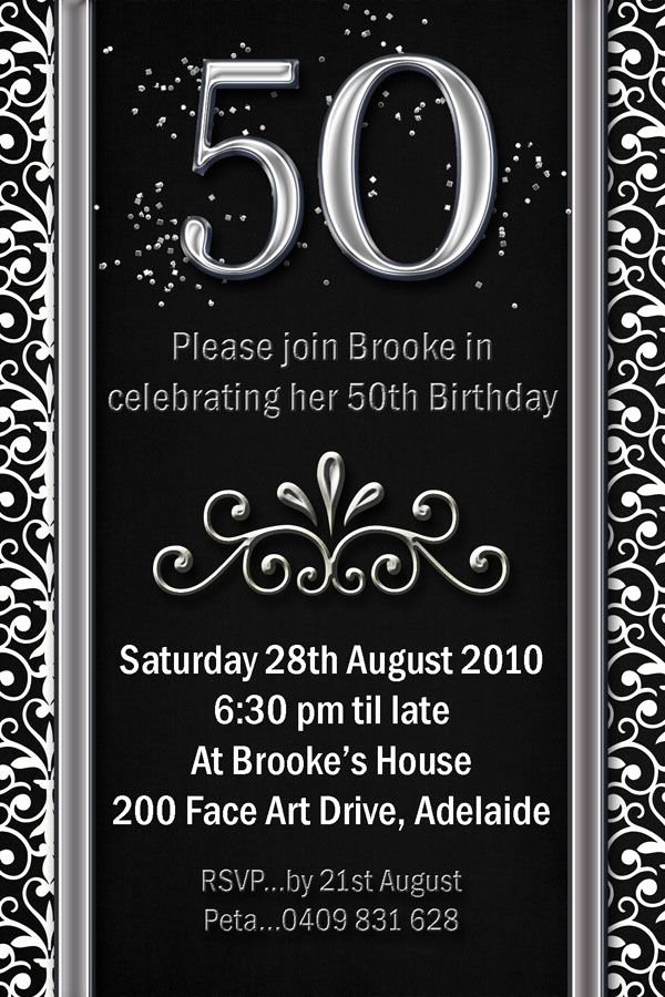 50th Birthday Invitation Templates Elegant Example 50th Birthday Invitations Flower Patern Silver