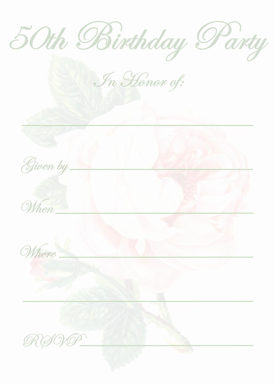 50th Birthday Invitation Templates Elegant Free Printable 50th Birthday Party Invitation Templates