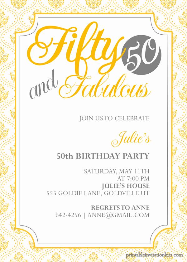 50th Birthday Invitation Templates Fresh Fifty and Fabulous – 50th Birthday Invitation ← Wedding