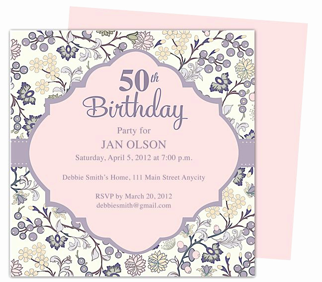 50th Birthday Invitation Templates Word Best Of Beautiful and Elegant 50th Birthday Party Invitations