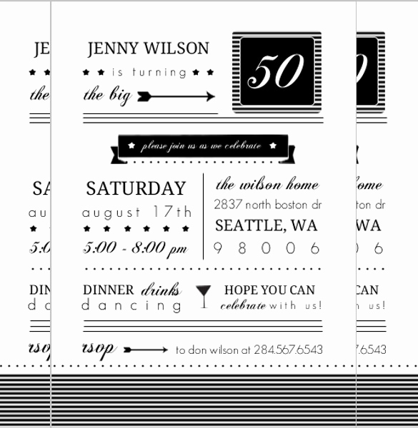 50th Birthday Invitation Templates Word Fresh 45 50th Birthday Invitation Templates – Free Sample