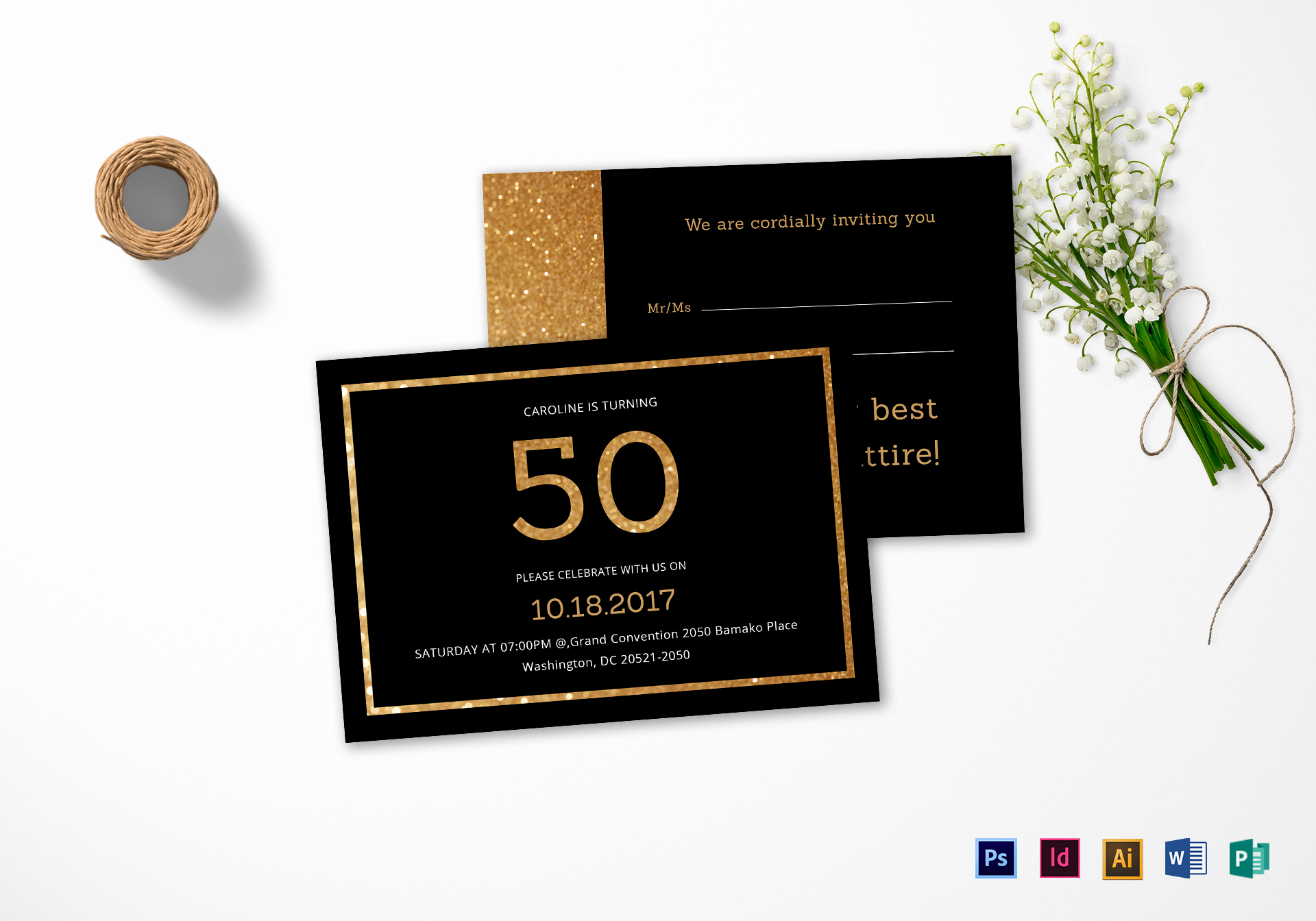 50th Birthday Invitation Templates Word Inspirational Elegant Black and Gold 50th Birthday Invitation Design