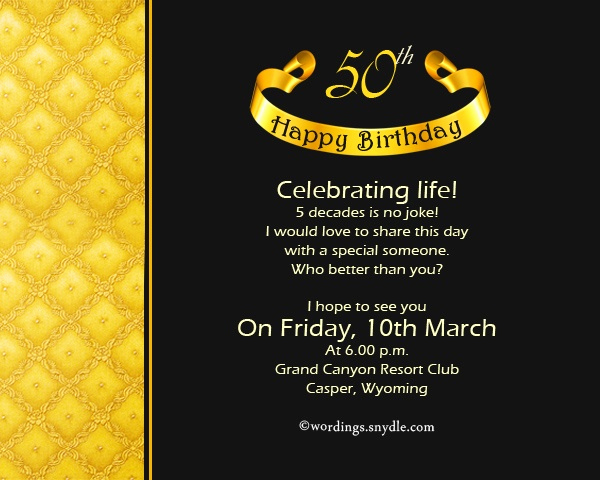 invitation wording for 50th birthday