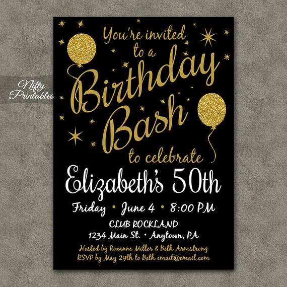 50th Birthday Invitation Templates Word Luxury 50th Birthday Invitation Printable 50 Black Gold Glitter
