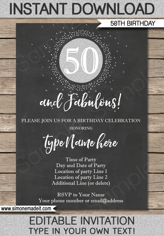 50th Birthday Invitation Templates Word Luxury Chalkboard 50th Birthday Invitation Template