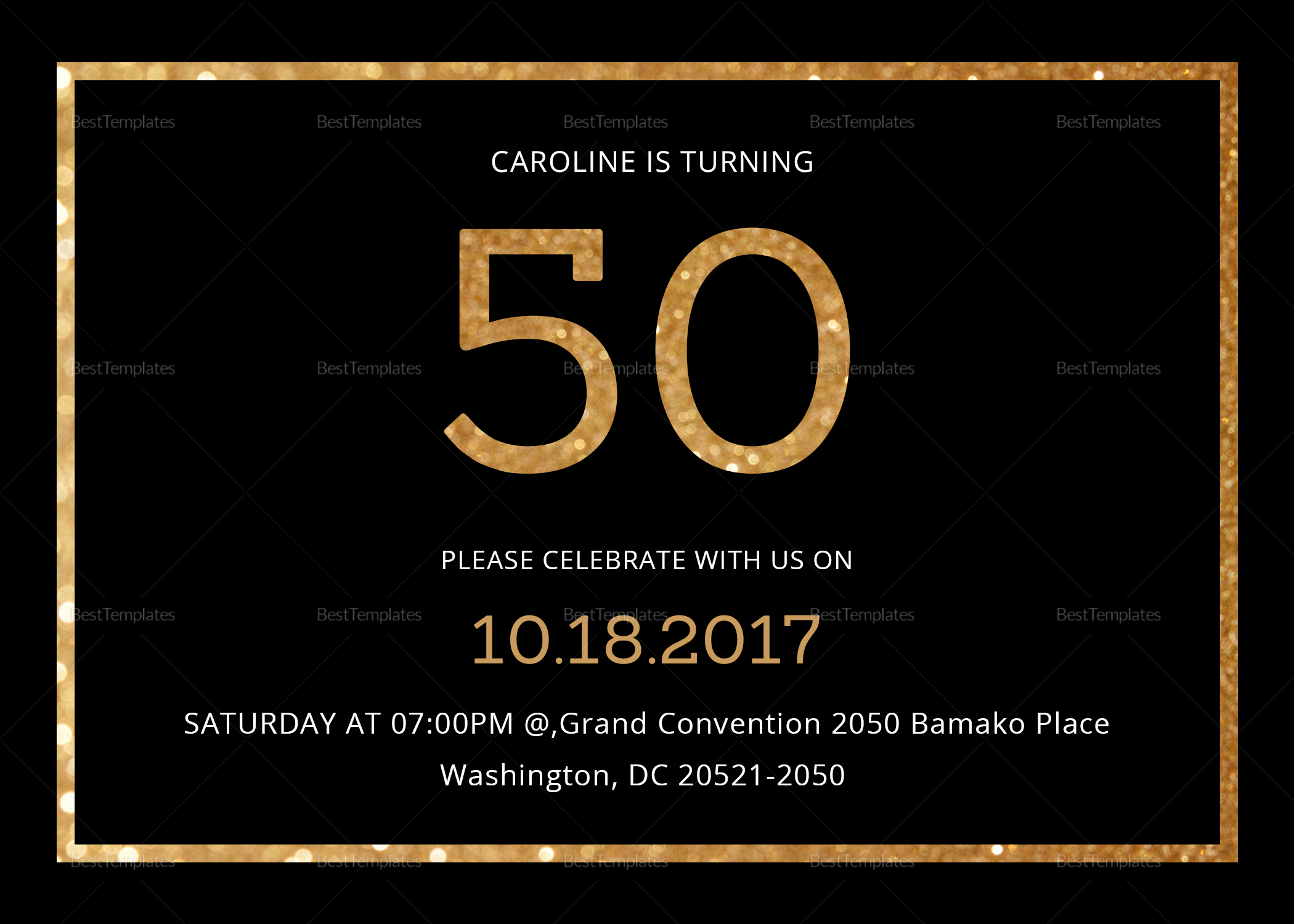 50th Birthday Invitation Templates Word Luxury Elegant Black and Gold 50th Birthday Invitation Design